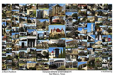 Texas State University Campus Art Print