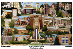 Campus Art Print Watercolor collage with school name below image